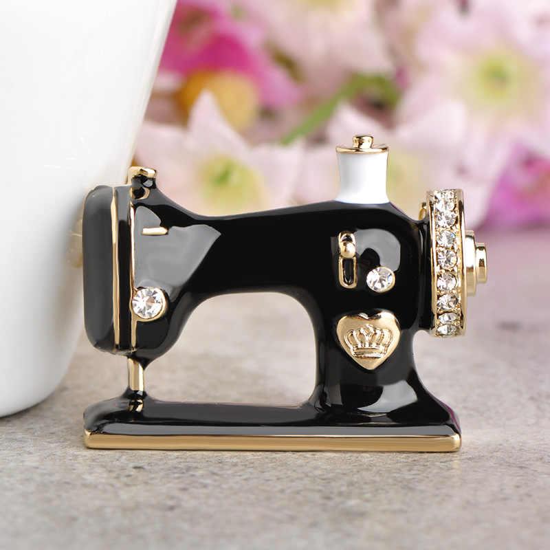 Blucome feminino meninas máquina de costura broche esmalte preto broches jóias hijab pino para colar terno cachecol decoração acessórios