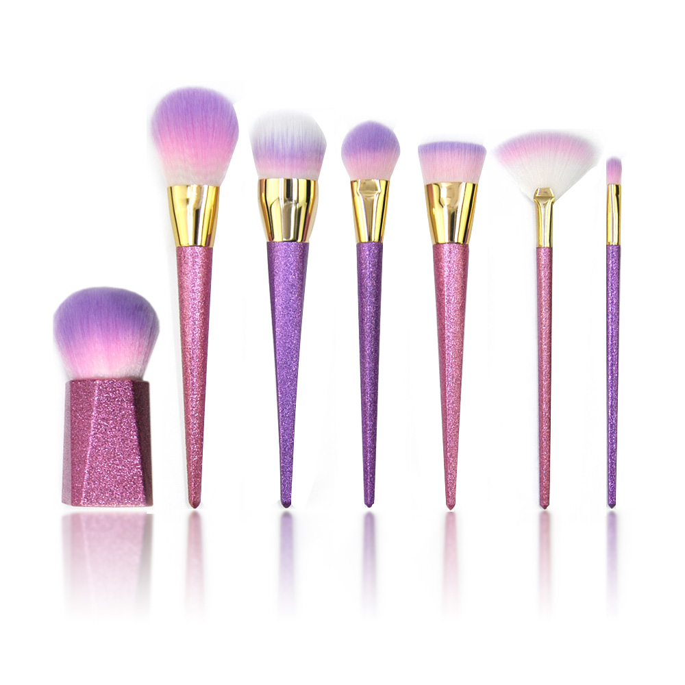 Kaizm Highlighter Makeup Brushes 7pcs/set Matte Makeup Brushes Purple Glitter EyeShadow Foundation Powder Brush Unicorn 7pcs/lot