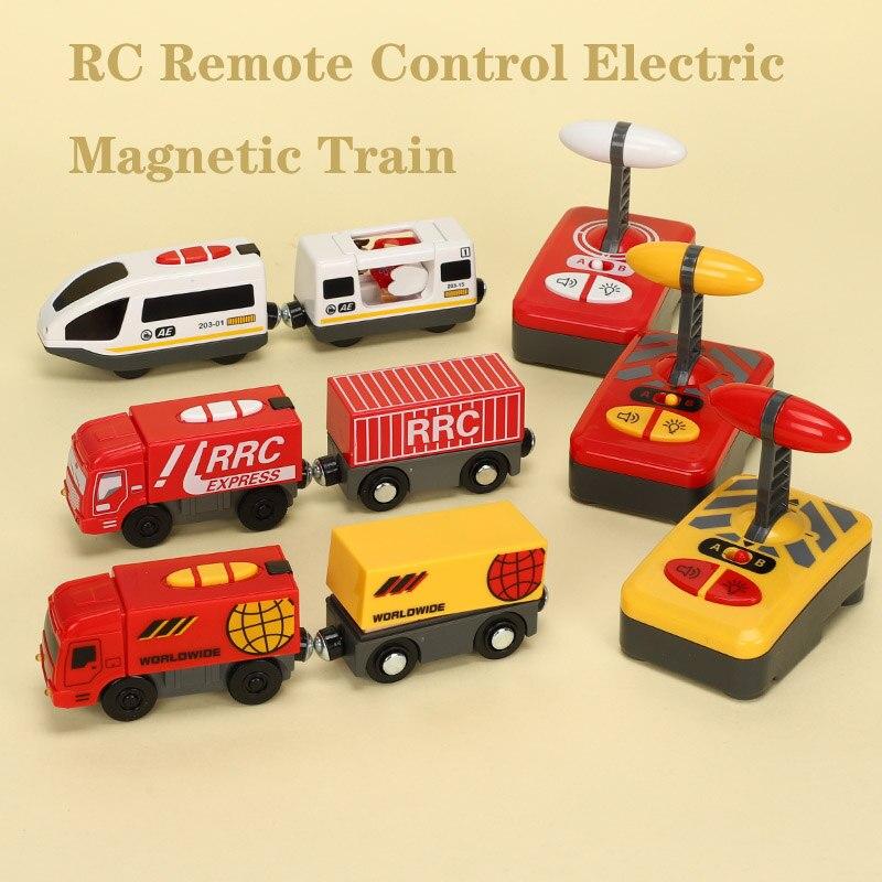 Rc controle remoto elétrico magnético compatível brio trilha de madeira branco harmonia trem e vermelho em todo o mundo trem crianças presentes aniversário
