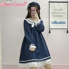 47732a7773f Harajuku Col Marin Marine Robe Japonais Lolita Doux Arc Fille Belle Coton  Kawaii Style Preppy à manches longues Robes