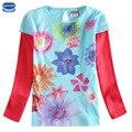 Nova crianças dos miúdos roupas de manga comprida floral impresso t-shirt da menina 2015 algodão de alta qualidade mais novo design t-shirt para meninas