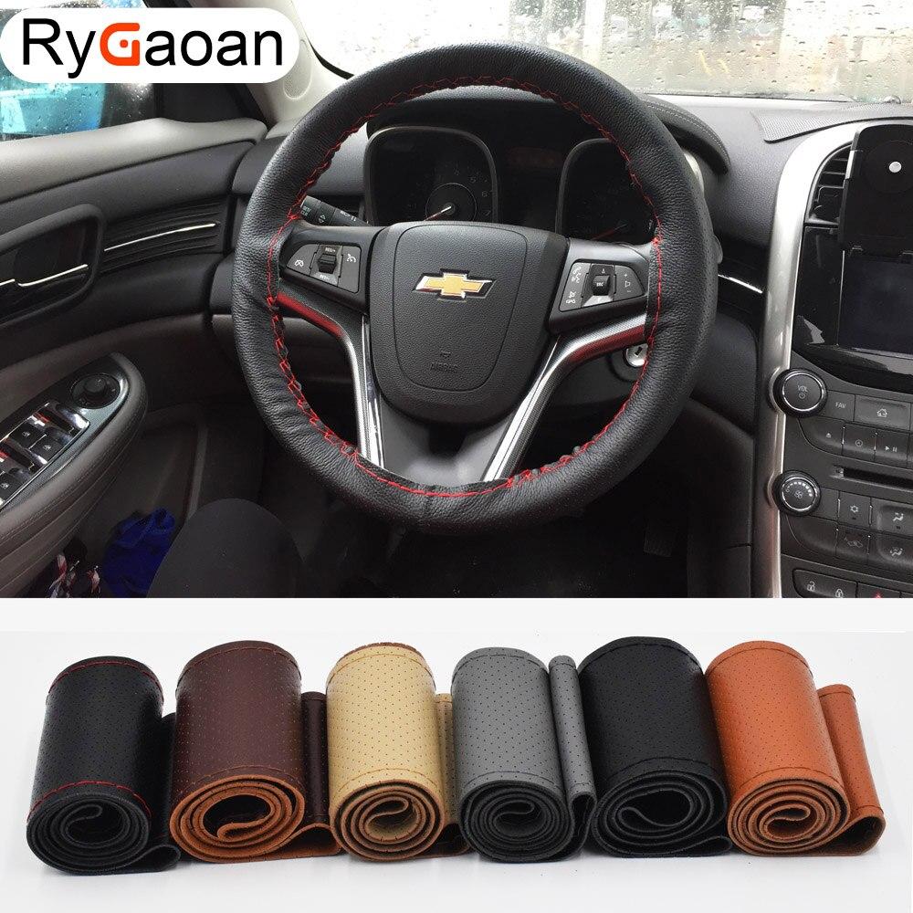 RyGaoan DIY volante cubre/cuero muy suave trenza en el volante de coche con agujas y rosca Interior