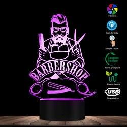 Barbearia 3d ilusão óptica lâmpada de mesa salão de beleza do cabelo led acrílico estereoscópico luz moda cor mutável lâmpada