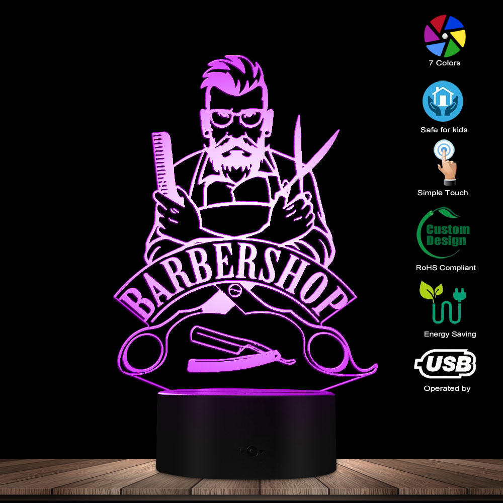 Barber Shop 3D Optical Illusion Table Lamp Hair Salon Beauty Salon LED Acrylic Stereoscopic Light Fashion Color Changeable Lamp