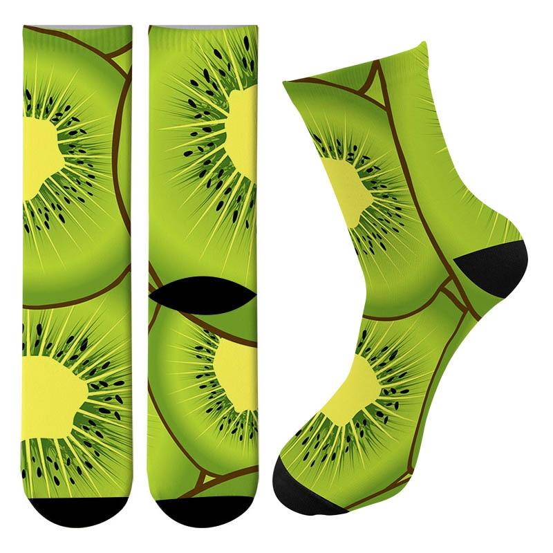 New 3d Printed Kiwi Fruit Men Crew Cycling Socks Street Trend Food Taco Skateboard Long Socks Causal Peanut Funny Tube Socks