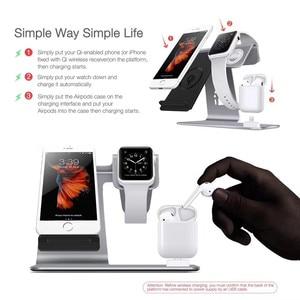 Image 5 - 3 で 1 ワイヤレス充電ステーション電話ホルダーチー高速ワイヤレス充電器ベース iPhone 8 × 三星銀河 S6 s7 S8 アップルの i 時計