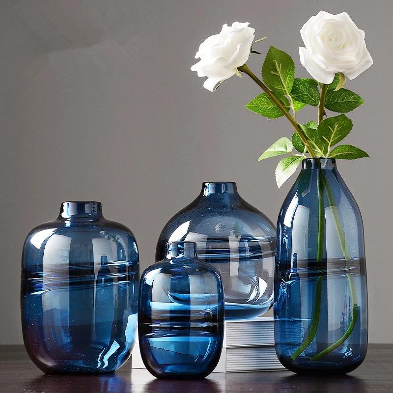 Modern Minimalist şeffaf Cam Vazo Dekorasyon İskandinav Tarzı Oturma Odası Kurutulmuş çiçek Süsleme Cam Vazo Vazolar Aliexpress
