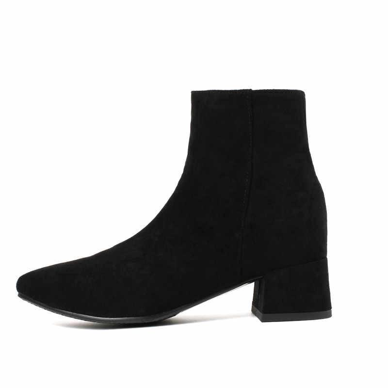 Mới Nữ Giày Nữ Giày Cao Gót Trơn Trượt mắt cá chân Giày mùa đông Kéo Dài Tất giày Vuông Giày cao gót giày nữ Plus kích thước 32-44
