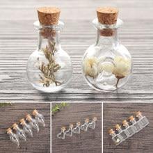 5 pièces/paquet Mini verre Transparent vide échantillon pots souhaitant bouteille vide flacons de stockage bricolage pendentifs bouchon de liège décoration de la maison