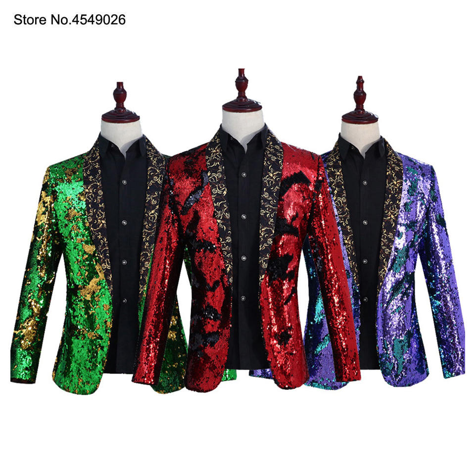 Tide <font><b>Mens</b></font> Double-turning Two Colors <font><b>Sequins</b></font> Blazer Dj Singer Night Club Party Blue <font><b>Green</b></font> Purple Gold Silver Suit <font><b>Jacket</b></font> Outfit image