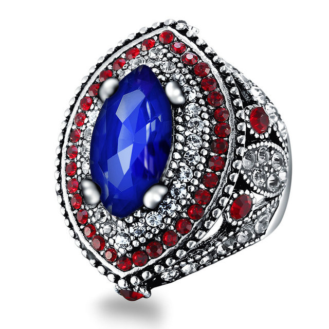 new design turkey jewelry vintage big wedding rings for women retro plating gold mosaic blue stone - Big Wedding Ring