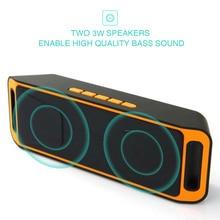 Wireless Speaker SC208 Stereo Subwoofer TF USB FM Radio Built-in Dual LoudSpeaker Bass Sound Speakers bluetooth speaker цены онлайн