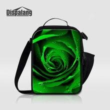 Dispalang персонализированные зеленые розы печати тепловой обеденный мешок для детей женщин изолированные Ланч сумки для школы цветок еды сумка-холодильник