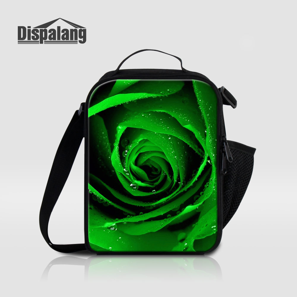 Dispalang Personalized Green Rose Print Thermal Lunch Sack For Kids Women Insulated Lunch Bags For School Flower Meal Cooler Bag