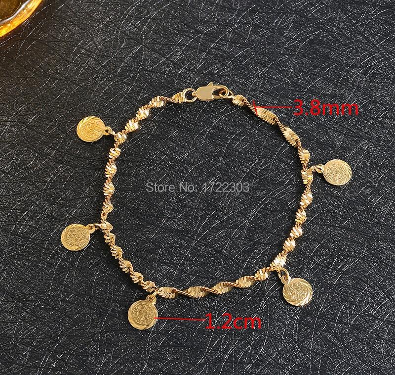 Bangrui צבע צהוב מוסלמי אללה צמיד מטבעות עתיקים צמידי נשים וגברים תכשיטים זהב מרוקאי אלג'יריה הסעודית המרוקאית