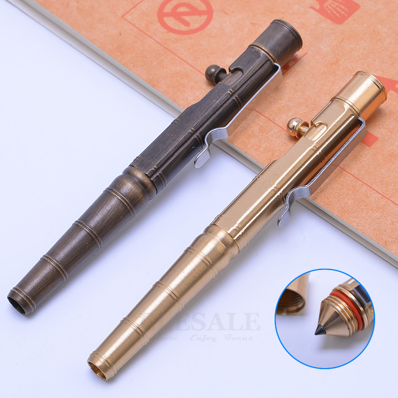 New Portable Brass Tactical Pen Bolt Switch Emergency Self-Defense Glass Breaker Outdoor Survival EDC Tool Gift DropshippingNew Portable Brass Tactical Pen Bolt Switch Emergency Self-Defense Glass Breaker Outdoor Survival EDC Tool Gift Dropshipping