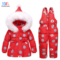 Kindstraum 2017 Kids Thick Down Coat Bib Winter Children Fur Hooded Clothing Suits Fashion Dot Sets