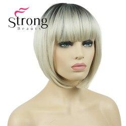 Strong beauty-perruque synthétique complète Blonde Ombre | 10 pouces, perruque Bob résistante à la chaleur pour femmes