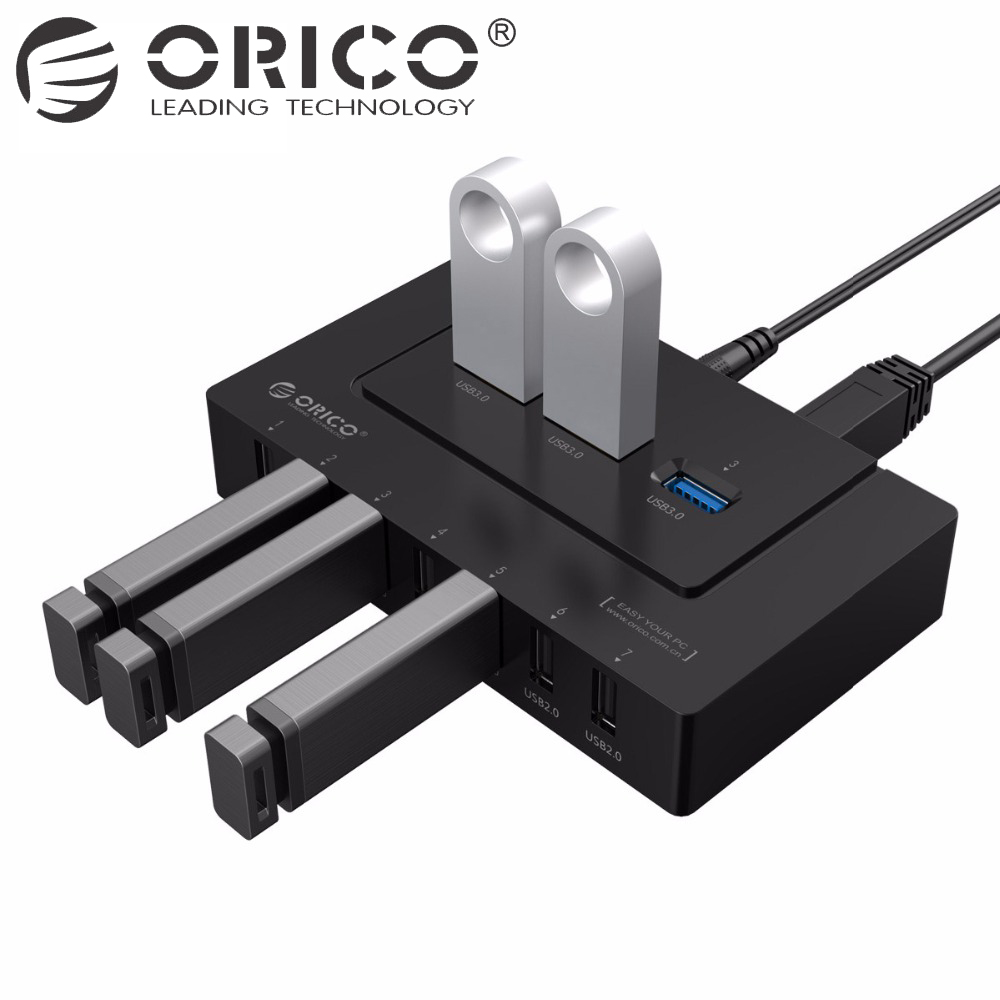 ORICO USB 2.0/3.0 HUB 10 Ports USB HUB 5Gbps Power Adapter High Speed Splitter Adapter for PC LaptopNotebook-Black orico aluminum 10 ports usb3 0 hub high speed 5gbps splitter with 12v power adapter and 3 3ft usb3 0 cable silver