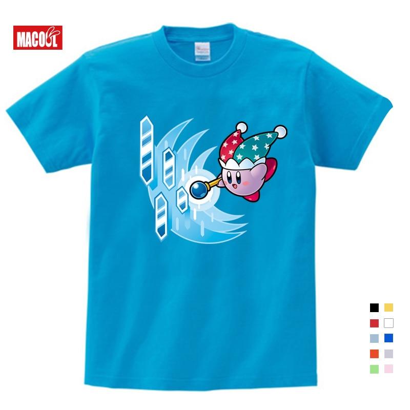 Bonito Menina Crianças Camiseta Camisas Kirby Kirby Jogo das Estrelas Personagens Aliados de Crianças Verão Rosa Tops Dos Desenhos Animados Anime camisa do menino