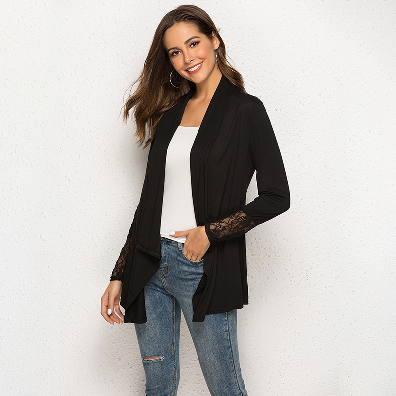 Women Thin Cardigan Long Sleeve Loose Asymmetric Hem Long Cardigan Women Lace Patchwork Outerwear   Basic     Jacket