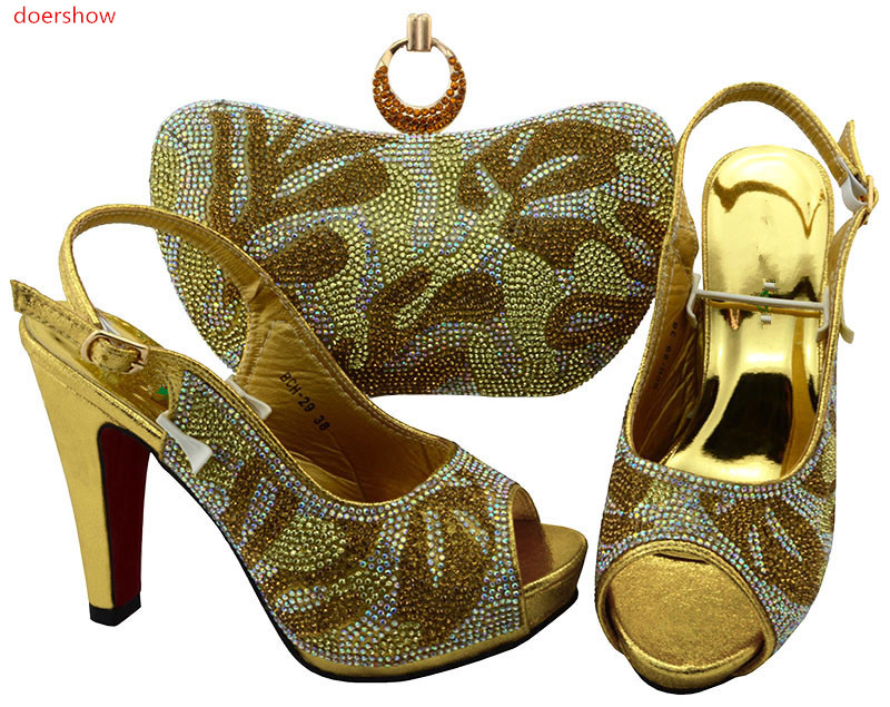 doershow new come Shoe and Bag Set Decorated with Rhinestone High Quality African Women Shoes and Bag To Match for Parties!TR1-2 ванна акриловая ravak asymmetric 160x105 левая