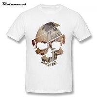 Summer Men T Shirt Coconut Tree Draw On Skull Cut Into Pieces Printed Short Sleeve 100