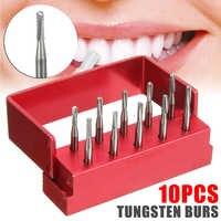 10 unids/set fresas de corte de Metal de acero de tungsteno Dental de alta velocidad para pulir fresas de laboratorio Dental FG-1957