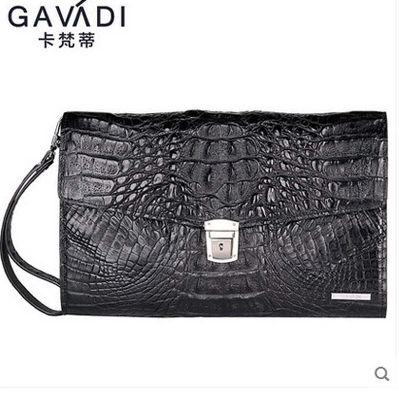 kafandi crocodile men clutch bag lock hand grab bag men bag large volume business men bag twist lock grab bag