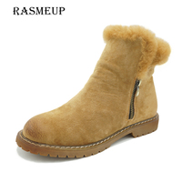 RASMEUP Retro Genuine Leather Women S Snow Boots 2017 New Winter Woman Plush Fur Warm Flat