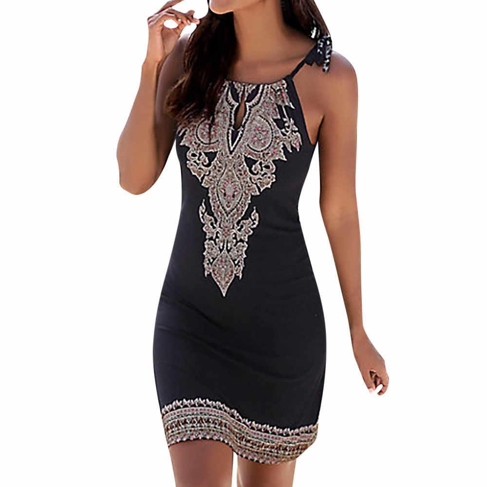 Летнее женское платье женский с американской проймой Boho с принтом без рукавов повседневное мини пляжное платье Сарафан 2019 Новое поступление #25