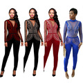 S-3XL 6 Plus sizes 4 colors Mesh Hot drilling party Bandage bodycon Autumn women playsuits casual fashion Jumpsuits Rompers 2142