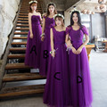 2017 Plus Size Customized A B C D Sweetheart Sleeveless Deep Purple Bridesmaid Dresses Long Organza Pleat Wedding Party Dress