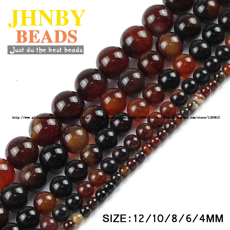 JHNBY Dream agata Carnelian Natural Stone Round Loose beads 4/6/8/10 - Bisutería