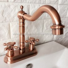 купить Antique Red Copper Basin Faucets Double Handle Bathroom Sink Faucet Deck Mounted Hot and Cold Water 2 Holes Mixer Tap Krg044 дешево