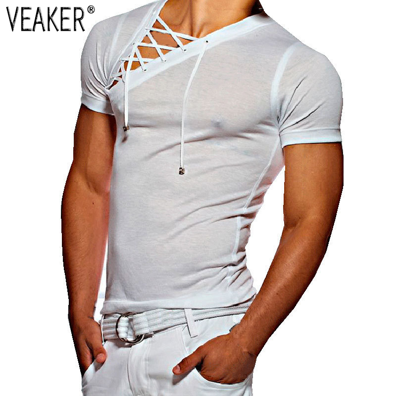 2018 New Men's Fitness Gyms   t     shirt   Male sexy bandage hollow out White Short Sleeve   t     Shirt   Men Sexy V Neck Tshirt Tops M-3XL