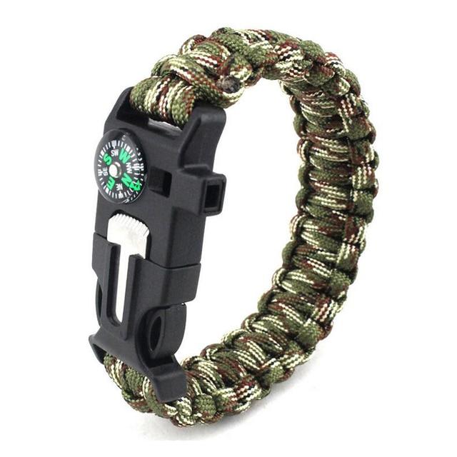 3b02d5b330c6 Pulsera trenzada hombres Paracord supervivencia pulsera Camping al aire  libre rescate emergencia cuerda pulseras para mujeres