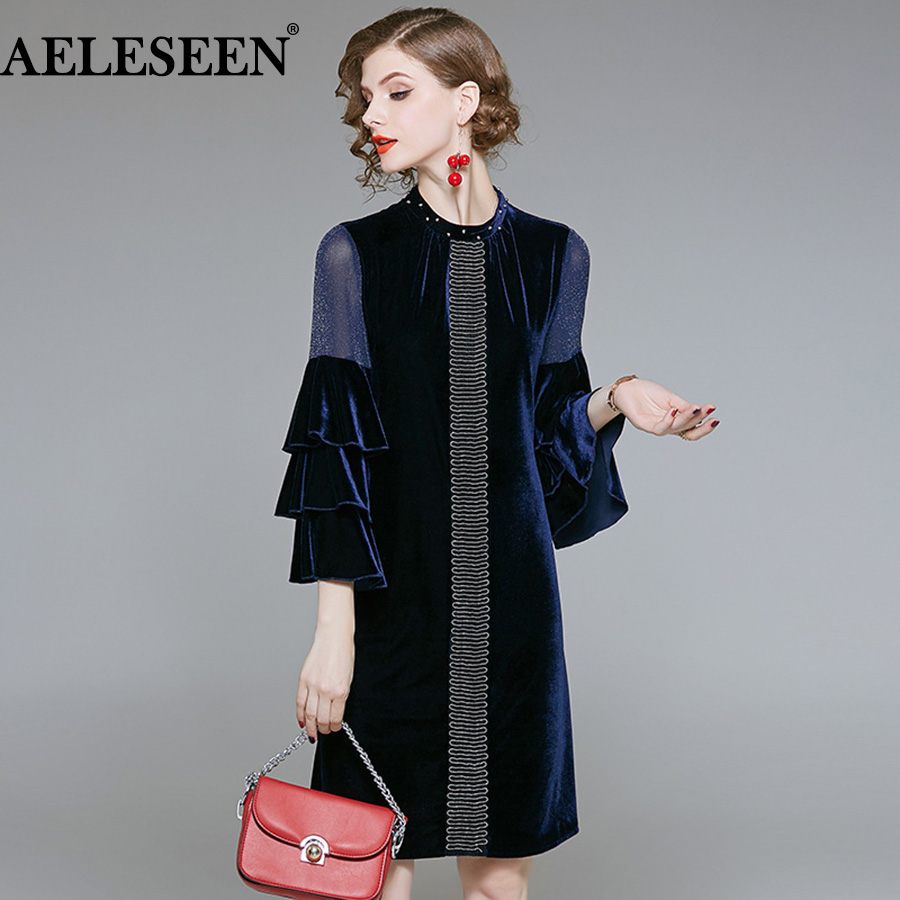 AELESEEN Runway <font><b>Velvet</b></font> <font><b>Dress</b></font> 2018 Fall Winter <font><b>dress</b></font> Navy Crystal Mesh Cascading Ruffles Loose Beading Elegant <font><b>Dress</b></font> Women