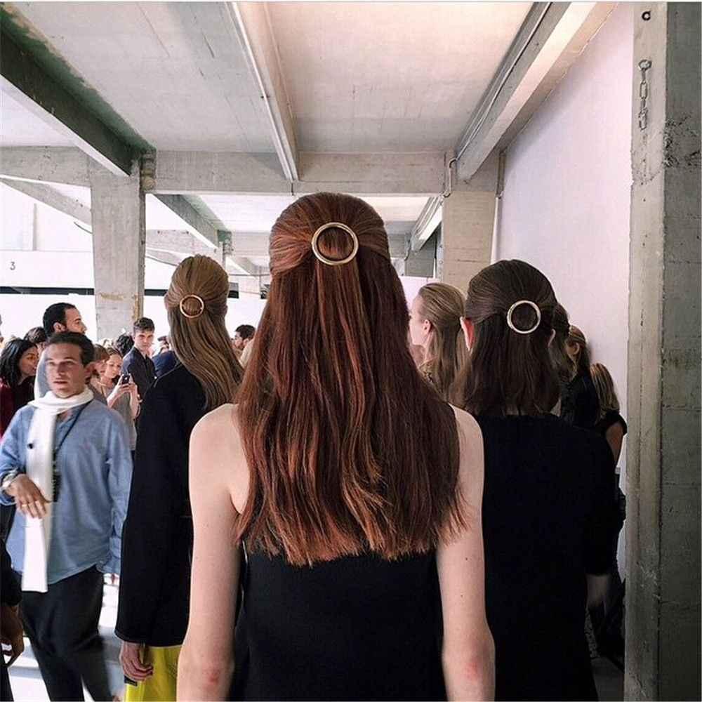 1PC Elegante Círculo Hairpin Mulheres Meninas Punk Ouro Prata Rodada Delicado Presente do Metal Hairpin Cabelo Clip Headwear Acessórios Para o Cabelo