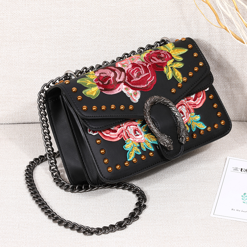 Luxury Designer Women Handbag Studded Floral-Embroidered PU Leather Chain Shoulder Bag Messenger Bag floral embroidered tie sheer kimono