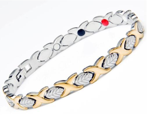 2017 New Fashion 361L Health Magnet Bracelet Bangle For Women Titanium Steel Jewelry Bio 4 in 1 Wholesale