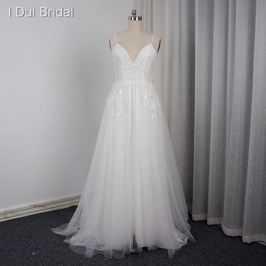 Spaghetti Strap Wedding Dresses with Bow Tie Real Photo V Neckline A line Sexy Bohemia Beach ELS0001-1 Drop Ship