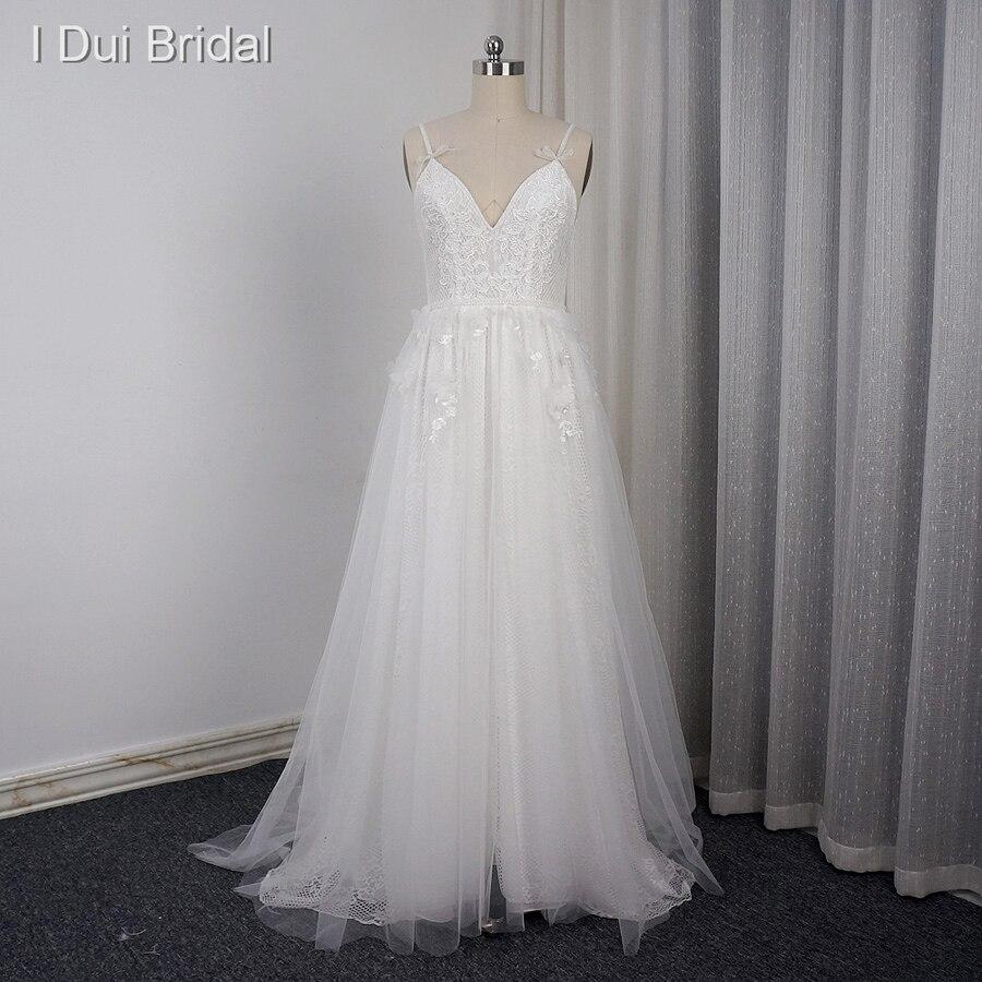 Spaghetti Strap Wedding Dresses with Bow Tie Real Photo V Neckline A line Sexy Bohemia Beach ELS0001 1 Drop Ship