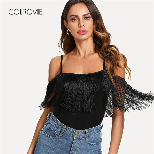 b149f159bc COLROVIE Open Shoulder Fringe Embellished Causal Top 2018 New Summer Black  Tassel Rock Tee Spaghetti Strap