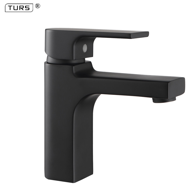 Высококачественный кран для ванной комнаты, Черный Твердый латунный кран для ванной комнаты, кран для раковины, смеситель для холодной и го...