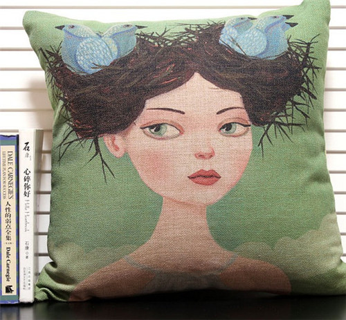 Wholesale 45 * 45cm Square Retro Girl Cushion Cover Birds Throw Pillow Cases for Gift Cartoon Girl Pillow Cove Home Decor