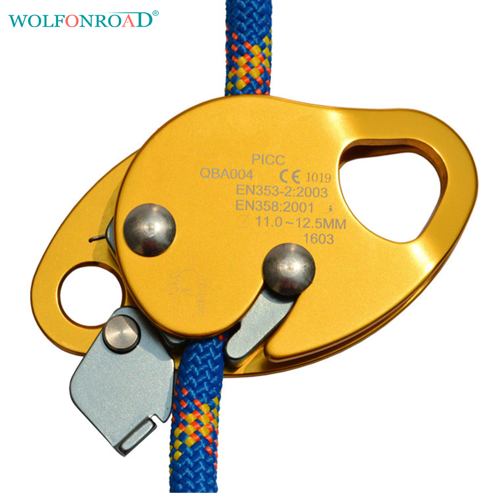 WOLFONROAD Belay Device Rock Climbing Stopper Grasp Rope Devices Automatic Lock Protective Gear Climbing Accessory L