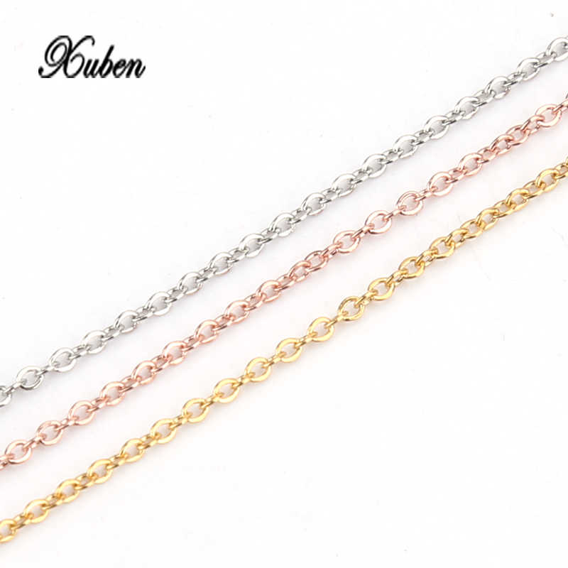 Xuben Extra fine wide 1 mm long 50 cm Stainless steel twist chain with titanium steel oval chain necklace jewelry