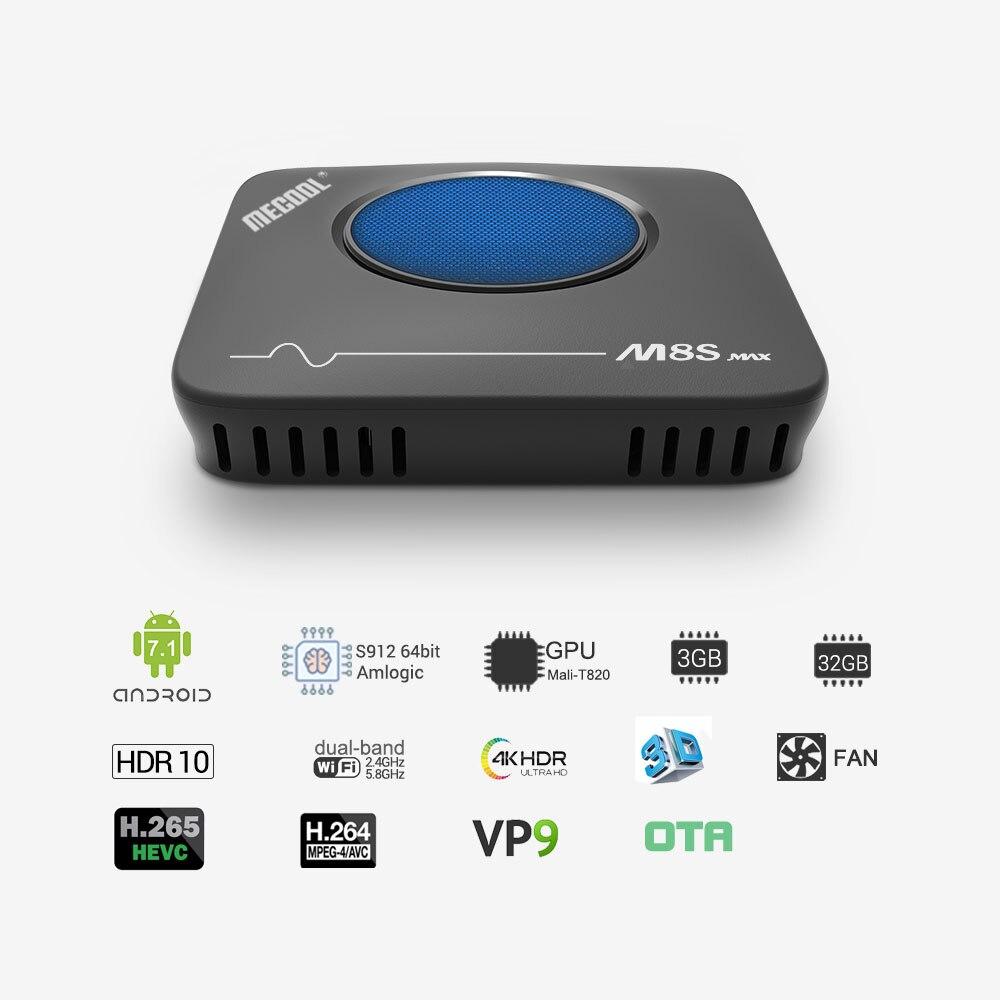 MECOOL Amlogic S912 m8s max nowy 3GB + 32GB Android 7.1 4K tv, pudełko strumieniowy odtwarzacz multimedialny