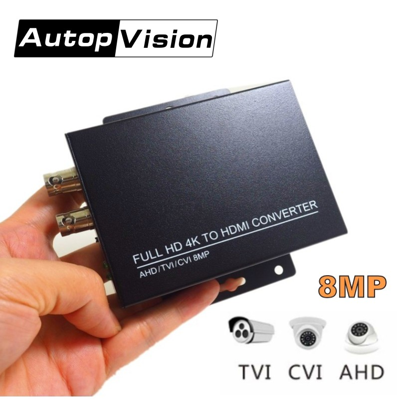 Auto Recognition HDC ADH FULL HD 4K 8MP CVI/TVI/AHD+CVBS To HDMI Converter Connect HD Monitor HD Coaxial Output And HDMI Input